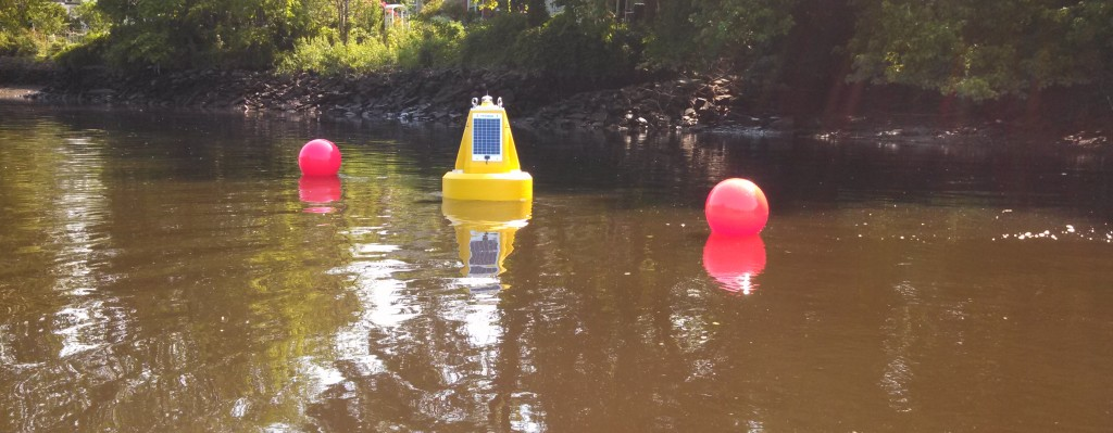 Turbidity sensors are used with data buoys for real-time dredge turbidity monitoring.