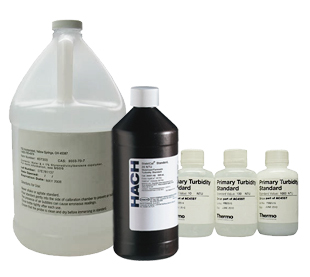 Approved turbidity standards are usually either Formazin or styrene-divinylbenzene copolymer suspensions.