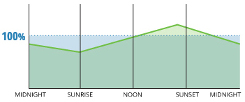 Dissolved oxygen concentrations will increase during the day due to photosynthesis production, and decline at night after the sun sets.