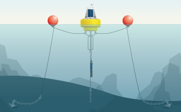 Data buoy with two-point mooring.