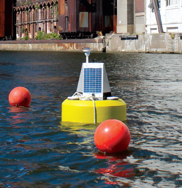 Turbidity monitoring data buoy at a dredging site.