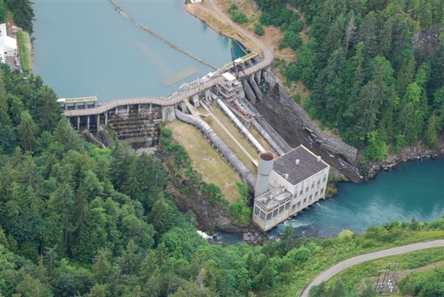 The Elwha Dam was removed as part of the Elwha River Restoration project. This project removed two major dams to improve natural sediment tranport levels along the river, as well as opening the waterway to salmon migration and spawning. (Photo Credit: NPS)