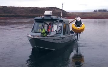 Deploying a data buoy.