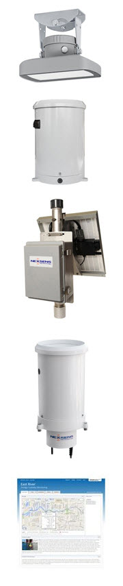 OTT RLS Radar Water Level Sensor, HSA TB3 Tipping Bucket Rain Gauge, NexSens 3100-MAST Cellular Telemetry System, WQData LIVE web datacenter
