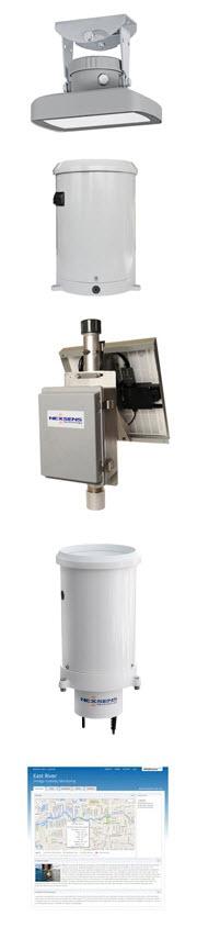 OTT RLS Radar Water Level Sensor, HSA TB3 Tipping Bucket Rain Gauge, NexSens 3100-MAST Cellular Telemetry System, WQData LIVE web datacenter