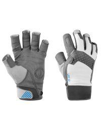 Mustang Traction Open Finger Glove - Light Gray/Blue - Large
