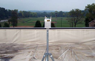Portable weather station installed on top of a roof.