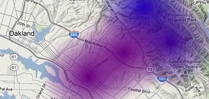 A screenshot from the Berkeley Atmospheric CO2 Observation Network Google map (Credit: UC Berkeley)