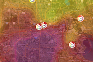 Houston Clean Air Network ozone map