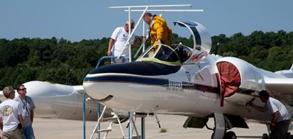 The ER-2 arrival at NASA's Wallops Flight Facility, Wallops Is., Va. (Credit: NASA/Brea Reeves)