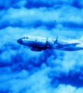 NOAA P-3 flying in eye of Hurricane Caroline. (Credit: NOAA Photo Library)