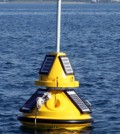 A new buoy four miles off the coast of Michigan City, Ind., in Lake Michigan will provide real-time information on lake conditions for boaters and others just off the shore. (Illinois-Indiana Sea Grant photo/Anjanette Riley)