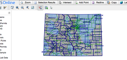 A screen capture of the Colorado Oil and Gas Conservation Commission's GIS water quality database