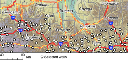 A map of test wells in the Shale-Water Interaction Forensic Tools project (Credit: Syracuse University)