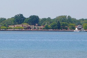 Skyline of Algonac as seen across the St. Clair River (Credit: P199, via Wikimedia Commons)