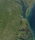 SeaWiFS captured this image of the mid-Atlantic coast of the United States on October 3, 2000(Credit: SeaWiFS Project, NASA/Goddard Space Flight Center, and ORBIMAGE)
