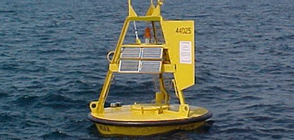 A 3-meter discus buoy like those used to measure wave heights in Lake Erie (Credit: NOAA)