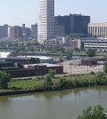 The Cuyahoga River and downtown Cleveland (Credit: DandZ, via Wikimedia Commons)