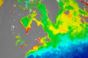 A season-long composite of ocean chlorophyll concentrations derived from visible radiometric measurements made by an instrument on Suomi NPP. (Credit: NASA/Suomi NPP/Norman Kuring)