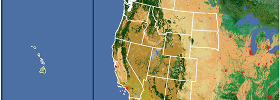 A selection on the study area for the Mercury Cycling, Bioaccumulation, And Risk Across Western North America project (Credit: Biodiversity Research Institute)