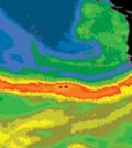 Satellite image of an October 2009 atmospheric river that made landfall in central California.