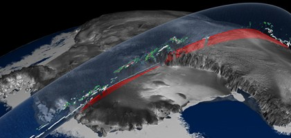 An illustration of the orbit of NASA's Ice, Cloud and land Elevation Satellite (ICESat), once of the instruments that provided data for the study (Credit: NASA)