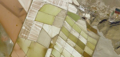 Image: Salt works operated by Great Salt Lake Minerals and Chemicals Corporation near West Warren, Utah (Credit: NASA)