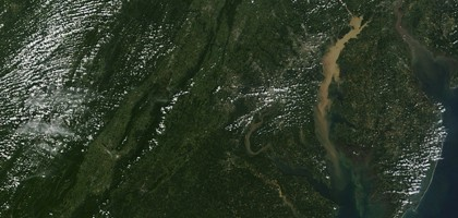 Tropical Storm Lee carried sediment into Chesapeake Bay in 2011 (Credit: NASA MODIS Rapid Response Team at NASA GSFC)