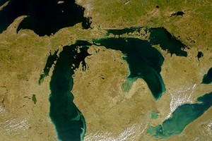 Image: Satellite image of the Great Lakes (Credit: SeaWiFS Project, NASA/Goddard Space Flight Center, and ORBIMAGE)