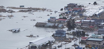 Aerial view of Minato, Japan after 9.0 magnitude earthquake (Credit: U.S. Navy)