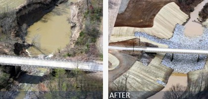 The restoration saved this bridge, the only direct thoroughfare, just outside the town of Ripley, Tenn. (Credit: USDA/NRCS)