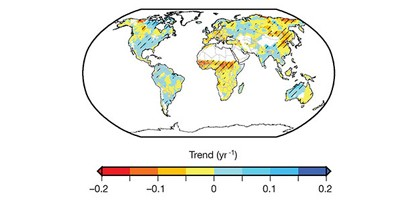 Red areas have experienced increasing levels of drought while blue areas have become less prone to dry conditions. Overall, there has been less of a trend toward drought globally than previously thought. (Credit: Justin Sheffield)