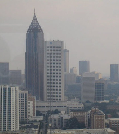 Smog in downtown Atlanta (Credit: NASA, Institute for Southern Studies)