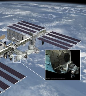NASA plans to launch a new instrument to the International Space Station in 2014 to help measure ocean surface wind speed and direction, according to a release from the agency. The instrument, named ISS-RapidScat, will help forecast global weather, monitor hurricanes and project the effect of ocean-atmosphere interactions on the Earth's climate. The instrument will be able to monitor all parts of the world accessible from the space station's orbit and measure the Earth's global wind field throughout the day. Wind variances can play a significant function in the formation of tropical clouds and systems, which have a heavy influence on the Earth's water cycles. The ISS-RapidScat is scheduled to be in operation for two years. Image: Artist rendering of ISS-RapidScat (Credit: NASA/JPL-Caltech/JSC)