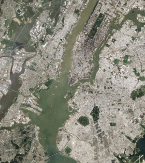 The Governer's Island area of New York Harbor and the Hudson River Estuary (Credit: NASA)
