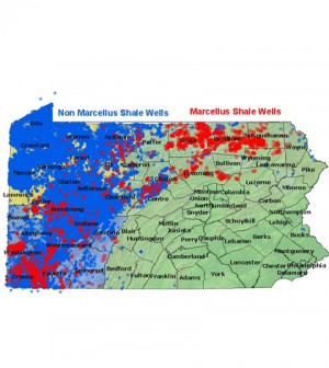 Pennsylvania map showing state shale wells (Credit: DEP)