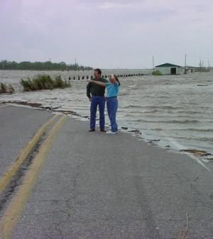 Rising sea levels engulf a Louisiana highway (Credit: NOAA)
