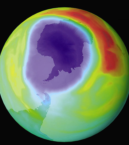 The hole in the ozone layer in 1998 (Credit: NASA)