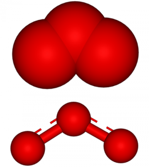 Ozone molecule (via Wikimedia Commons)