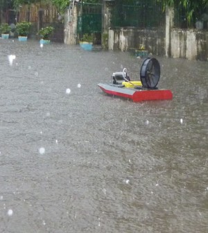 A Platypus autonomous monitoring boat at work in the Philippines (Credit: Christopher Tomaszewski)