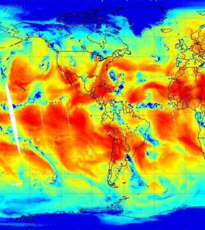 Satellite image measuring atmospheric water vapor (Credit: NASA/NOAA)