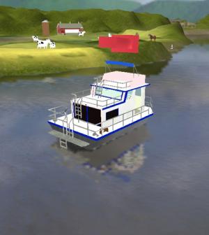 Simulation of the virtual boat on the Ohio River (Credit: Ohio University)