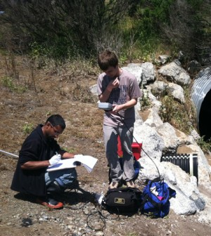 Volunteers moniitoring on Carneros Creek in California (Credit: Coastal Watershed Council)