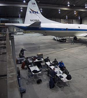 The NASA P-3B sits in the hangar at Thule Air Base (Credit: NASA/Michael Studinger)