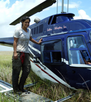 Doctoral student Nicole Khan used a helicopter to survey Louisiana marshes (Credit: University of Pennsylvania)