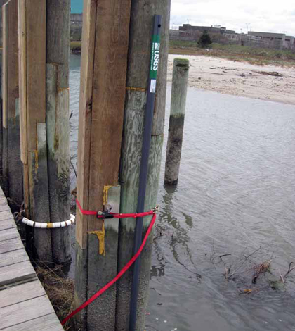 A storm tide sensor deployed by the USGS prior to Hurricane Sandy (Credit: USGS)