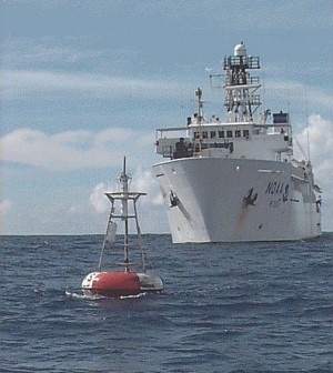 A buoy in the TAO-Triton array (Credit: NOAA/PMEL/TAO Project Office/Michael J. McPhaden)