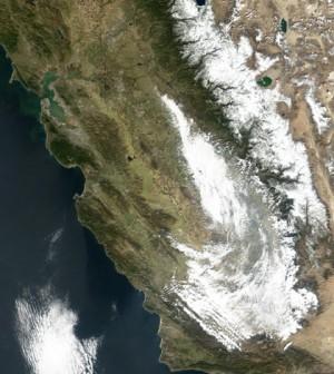 Satellite image showing California storm (Credit: NASA)