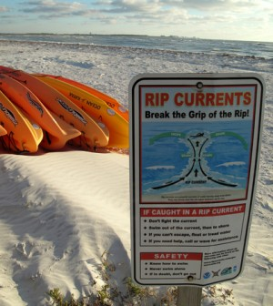 Rip current warning on a Florida beach (Credit: Heydn Ericson, via Flickr)