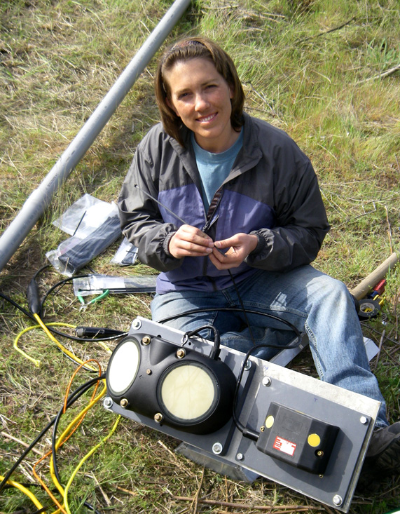USGS scientist Molly Wood deploying two Sontek acoustic Doppler velocity meters in the Clearwater River: a 500 kHz SL™ (left) and a 3000 kHz SL™ (right) (Credit  Greg Clark/USGS)